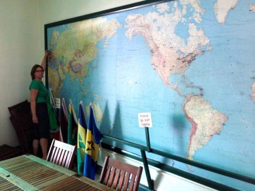 Kleiner Punkt auf der Weltkarte