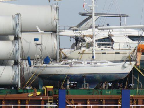 Rotorblätter und Yachten als Decksfracht