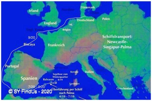 Seeweg und Stationen der Reise